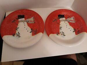 Certified International Susan Winget Christmas Red Snowman 2 Dinner Plates