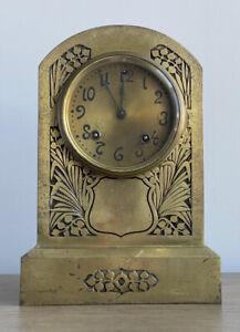 "Ansonia Antique 10.5"" Art Nouveau Surry Brass Copper Clock Deco Needs Repair"