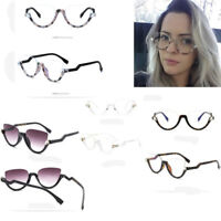 Fashion Cat Eye Sunglasses Women Half Frame Plain Glasses Clear Lens Oculos