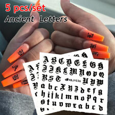 Stickers Thin Laser Holographic Fire Nail Sticker Ancient Letters Flame Hollow