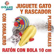 JUGUETE RASCADOR GATO RATÓN CON BOLA SONAJERO INTERIOR Y PLUMAS 10 cm L124 3175