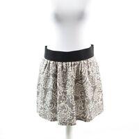 Gray white paisley linen ANN TAYLOR LOFT pleated mini skirt 8