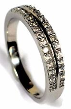 925 Sterling Silver Wedding/Engagement Eternity Band Ring Double Row Pave