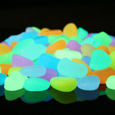120pcs Colorful Glow in the Dark Pebbles Stone Rock for Garden Fish Tank Walkway