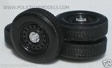 1/24 - 1/25  Dog Dish Rim & Tire Replacement Set For Model Police Cars #1536
