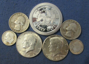 LOT 6 US SILVER COINS & 1 OZ .999  EAGLE ROUND 1964 & 1964 KENNEDY HALF DOLLARS