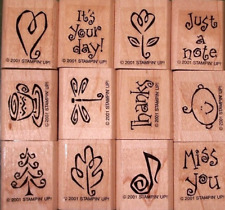 STAMPIN' UP YEAR ROUND CHEER SET OF 12 WOOD MOUNTED MINI RUBBER STAMPS