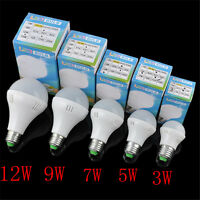E27 3W/5W/7W/9W/12W Energy Saving LED Light Bulb Lamp Cool/Warm White 110V/220V