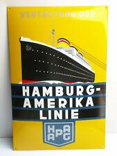 HAMBURG-AMERIKA LINIE Emailschild HAPAG Reisebüro deko enamel sign 73 x 48cm