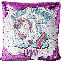Personalised UNICORN Sequin Cushion Cover Magic Reveal Glitter Pillow MC015
