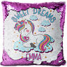 Personalised UNICORN Sequin Cushion Cover Magic Reveal Glitter Pillow MC015