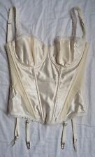 Ivory Silk Blend Bridal Lace Boned Corset Basque Suspenders Size 30F Masquerade