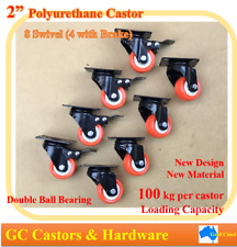"2"" Polyurethane Castor Wheels,8 Swivel Castors (4 with brake), Heavy Duty Caster"