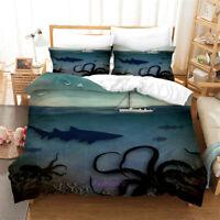 Linen Octopus Seabed Doona Quilt Duvet Cover Set Single/Double/Queen/King Bed