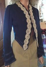 Vintage Antique 1900's Bolero Jacket Bell Sleeves Lace Trim Navy Blue Small