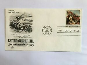 UNITED STATES USA 1975 FDC ART CRAFT REVOLUTION BATTLE BUNKER HILL PUTNAM