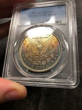TONED 1897 $1 Morgan Silver Dollar PCGS UNC Details - Cleaned - Rainbow Color