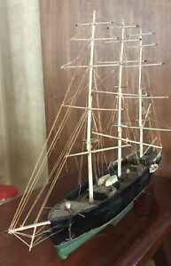 ANTIQUE WOOD 3 MASTED  SCHOONER MODEL SHIP EARLY AMERICAN FLAGGED VESSEL