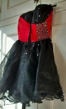 Contract Lover Black & Red Strapless Short Lace Up Back Party Dress   Small