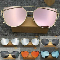 Mirrored Metal Frame Women Flat Lens Glasses Oversized Cat Eye Sunglasses New HS