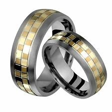 Titanium Ring Wedding Band Set 7.5mm Wide Comfort Fit Engraving Size 4 to 14