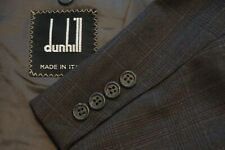 Dunhill Brown Blue Plaid 100% Wool 2 Pc Suit Jacket Pants Sz 40R Made in Italy