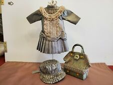 Beautiful Sage Silk Dress, Hat, & Bag for Antique/Other Doll, Fits Bleuette