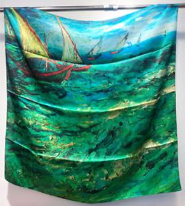 "100% Silk 35"" Large Square satin Scarf Women Shawl Wrap Floral blue green JH12-2"