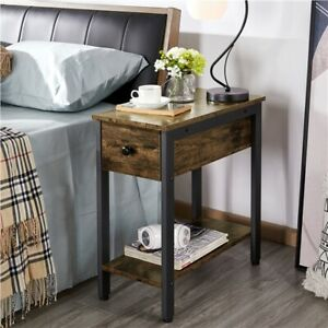 2-Tier Industrial End Table Narrow Nightstand Side Table for Small Space