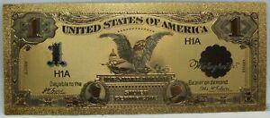 "1899 Black Eagle $1 Silver Certificate Novelty 24K Gold Plated Note 6"" LG374"