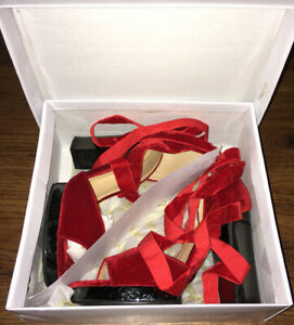 Red Block Heel Strappy Shoe Size 3 VGC