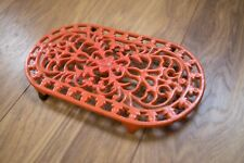 Vintage Orange Oval Cast Iron Trivet County Farmhouse Kitchen Shabby Chic