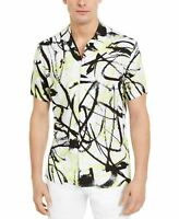 INC Mens Shirt Classic White Size Medium M Abstract Print Button Down $55- 226