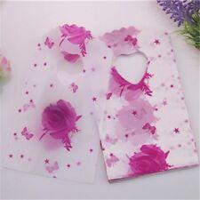 50pcs/lot 9*15cm Mini Thank You Gift Bags Handle Small Plastic Shopping Pink