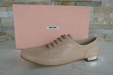 MIU MIU par PRADA Gr 36 Chaussures Plates À Lacets chaussures Chevreau nu neuf