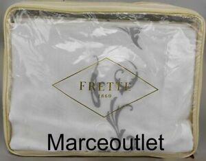 Frette 1860 Tracery Embroidery Cotton Sateen QUEEN Sheet Set Gray / Milk