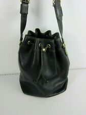Mark Cross Bucket Shoulder Purse Black Glove Leather Large
