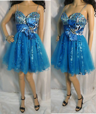 LET'S FASHION MINI BLUE BEADED SEQUIN ANIMAL PRINT PROM HOMECOMING DRESS M