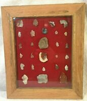 Petrified Wood Display Shadowbox Small Pieces Chips Chunks Fossil Framed