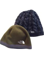 2 Hats North Face Green Beanie and Black Reversible Lined
