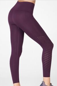 Fabletics Sync High-Waisted Perforated Seamless 7/8 Leggings Plum Size XL