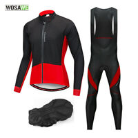 Men Cycling Sets Long Sleeve Thermal Fleece Jersey Bib Tights Padded Sport Pants