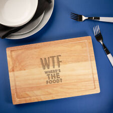 """WTF Where's The Food?"" Engraved Wooden Cutting Board - Funny Cooking Gifts"