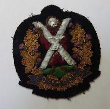 Queens Own Cameron Highlanders Bullion Cap Badge .9 x 9.5 cm's 1950's era