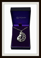 HOWLING WOLF & CELTIC MOON PEWTER PENDANT NECKLACE ~ FROM ST. JUSTIN ~ FREE P&P