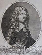 HENRY DE LORRAINE DUC DE GUISE..... Portrait. Gravure originale vers 1650