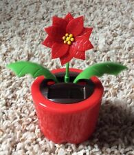 Fun Christmas Solar Dancer Poinsettia Flower Decoration Dashboard Toy