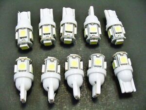 10 White Fits Buick BRIGHT 12V LED 194 Wedge Instrument Panel Light Bulbs NOS