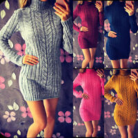 Women Knitted Turtleneck Long Sleeve Mini Dress Sweater Jumper Winter Party Tops