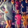 Women Knitted Turtleneck Long Sleeve Mini Dress Sweater Jumper Winter Party Tops
